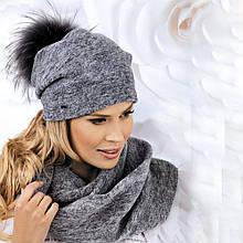 Теплая шапка на флисе с меховым помпоном Irina от Willi Польша