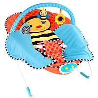 Шезлонг-качалка детский с одеялом Бабочка, 3 погремушки, музыка и вибрация Bambi 70016 HN