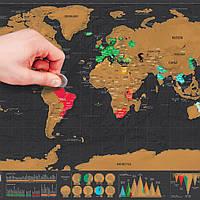 Mini Black Deluxe Travel Scrape World Map Плакат Путешественник Отпуск Лог-подарок Персонализированный путевой отпуск Карта 82.5 x 59.5 см