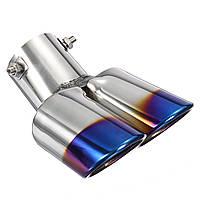 2.5дюймовBlueАвтоУплотненныедвойные выхлопные трубы Полированная нержавеющая сталь