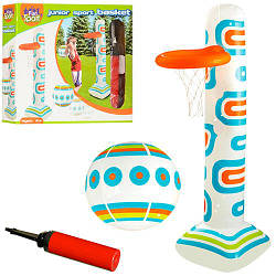 Игровой центр HF007 (24шт) надувной,баскетбол,стойка179см,мяч22см,насос,в кор-ке,38-32-8см