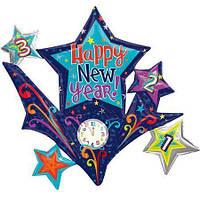 Шары воздушные фольгированные  37х94 Новогодние звезды с часами.
