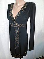 Платье вечернее черное с золотой оборкой, обтягивающее