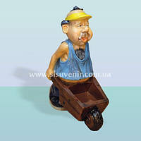 Садовая декоративная фигура фермер с тачкой, скульптура для сада мужик с тачкой