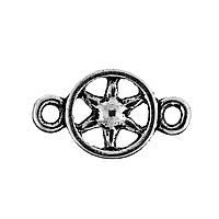 "Коннектор "" Звезда "", Цвет: античное серебро, Звезда в круге, 15 мм x 9 мм"