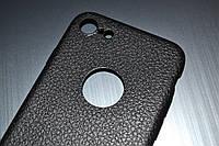 Чехол для iPhone 7 силиконовый Soft Touch черный под кожу