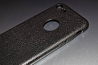 Чехол для iPhone 8 силиконовый Soft Touch черный под кожу