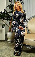 Велюровое длинное платье Эльвира