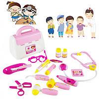 Розовый 15Pcs Доктор Медицинская Set Игрушечная медсестра переносит Коробка Ребенок в ролевую игру Pretend Набор Чехол