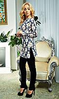 Брючный костюм с выбитыми цветами