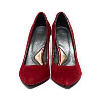 Последний размер 39 (38)!!! Красные замшевые туфли лодочки на каблуке. натуральная кожа