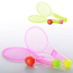Ракетка MS 0715 (600шт) детская, пластик, 2шт, мяч, 2 цвета, в кульке,19,5-8-2,5см