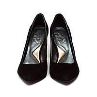 Черные замшевые туфли лодочки на каблуке. черные, натуральная кожа