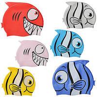 Шапочка для плавания MS 1020 (144шт) 2вида,6цветов,в кульке, 21,5-18см
