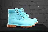 Женские ботинки Timberland 6 inch ментоловые без меха (Реплика ААА+)