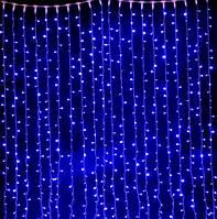 """Светодиодная гирлянда Водопад 3х3 м. 480 LED. """"Штора"""" """"Световой занавес"""" """"Дождь"""", синяя"""