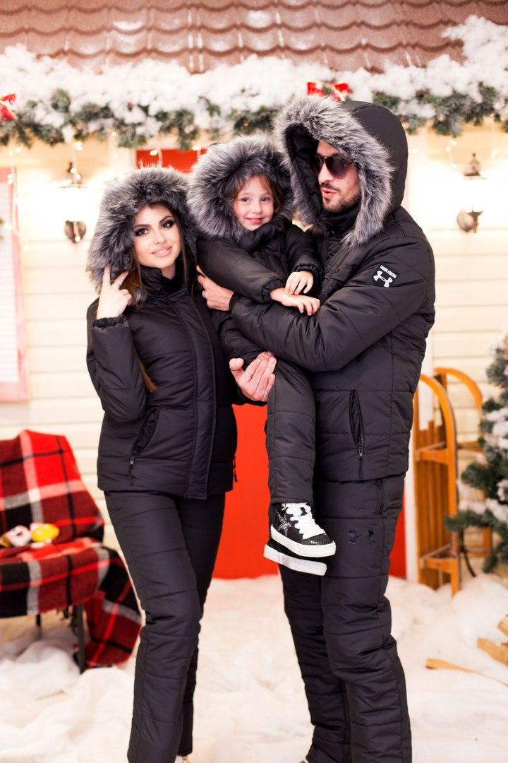 Женский горнолыжный костюм теплая куртка аляска с мехом и полукомбинезон, серия папа, мама, дети