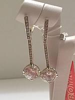 Серьги серебряные с прозрачными фианитами Фантази