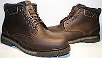 Темно коричневые ботинки зимние классические мужские кожа, Икос