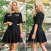 Женское теплое платье черного цвета с клешеной юбкой. Коллекция осень-зима 2017-2018. Модель 16500