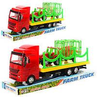Трейлер 299-13-14 (72шт) инер-й,29см,трактор с прицеп,2вида(1в-животн,1в-диноз),в слюде,33-13-9см