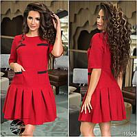 Женское теплое платье красного цвета с клешеной юбкой. Коллекция осень-зима 2017-2018. Модель 16504