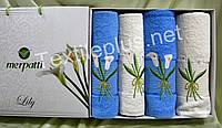 Подарочная упаковка полотенец 4шт Merpatti Lily 100% хлопок махра - 2 банных + 2 для лица-Разные модели