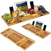 Бамбуковая ванна Кэдди-лоток с считывающей стойкой / держателем планшета / поднос для мобильного телефона / держатель для вина