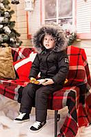Детский горнолыжный костюм теплая куртка аляска с мехом и полукомбинезон, серия папа, мама, дети