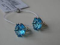 Серебряные серьги с голубым цирконием, фото 1