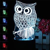 Owl 3D LED Изменение цвета Ночной свет Настольный компьютер для настольных компьютеров Лампа Декорация с контроллером Дистанционный