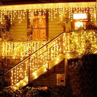Рождество 4M 96 LED Занавес сосульки Струнные огни 220V Крытый кадр LED Сторона Сад Этап На открытом воздухе Декоративный свет