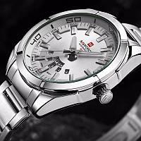 Мужские часы Naviforce Silver, модель NF9038msw, цвет корпуса стальной, фото 1