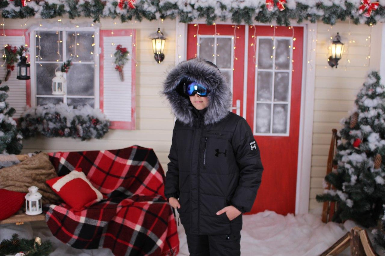 Подростковый горнолыжный костюм теплая куртка аляска с мехом и полукомбинезон, серия папа, мама, дети