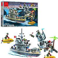 Конструктор BRICK 819 (20шт) форт на острове,военный катер,фигурки 7шт,505дет,в кор-ке, 41-28-6,5см