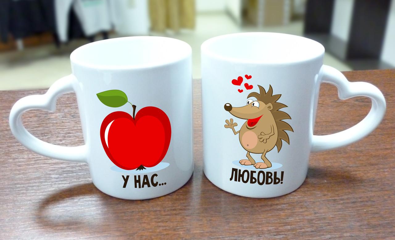 """Парные кружки """"Ёжик и яблоко"""", ручка сердце"""