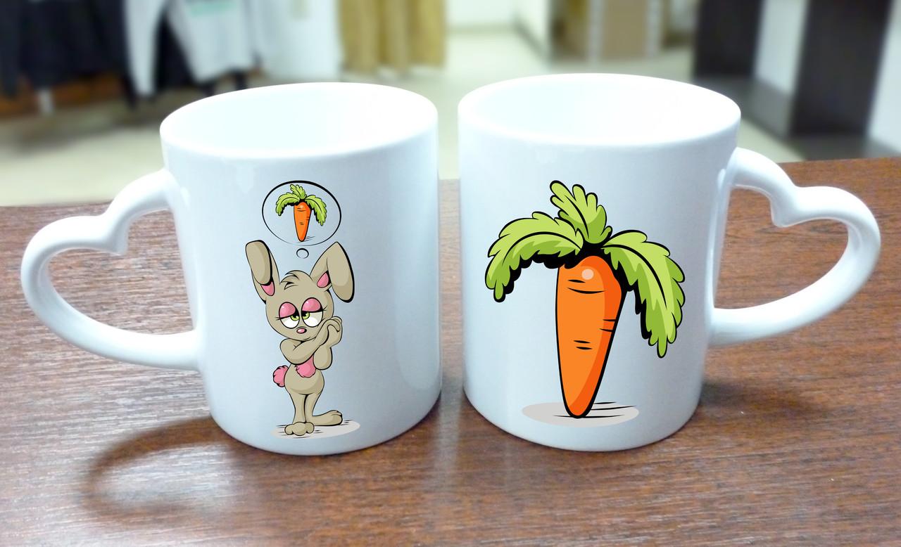 """Парные кружки """"Зайка и морковка"""", ручка сердце"""