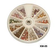 Стразы-звёзды разноцветные, большие камни YRE KMK-05, маникюр со стразами
