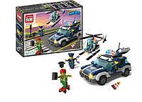 Конструктор Полиция, Погоня за преступником, Полицейская машина, вертолет, 394 детали, Brick 1117 KK
