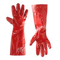Работа ПВХ Перчатки Кислота щелочная устойчивость Масло Промышленная химическая обработка Рукавицы безопасности Красный