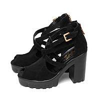 Последний размер 38 (37)!!! Замшевые босоножки на удобном широком каблуке. черный