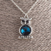 Кулон Сова Соня с синим кристаллом на цепочке d-3х2см L-53см