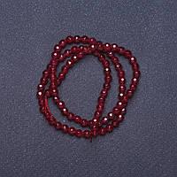 Бусины натуральный камень Турамлин бордо граненный шарик на нитке L- 37см d-4мм