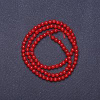 Бусины натуральный Коралл красный гладкий шарик на нитке L- 37см d- 4мм