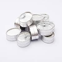 Коробочка для украшений серебристая овал большая 8/6/3,5 12 шт.