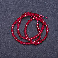 Бусины натуральный камень Турамлин малиновый граненный шарик на нитке L- 37см d-4мм