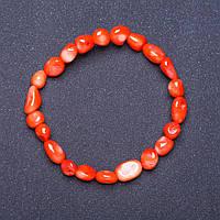Браслет натуральный Коралл оранж на резинке галтовка L- 18см d- 7-8мм