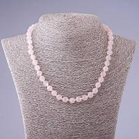 Бусы натуральный камень Розовый кварц граненный шарик L-48см d- 8мм