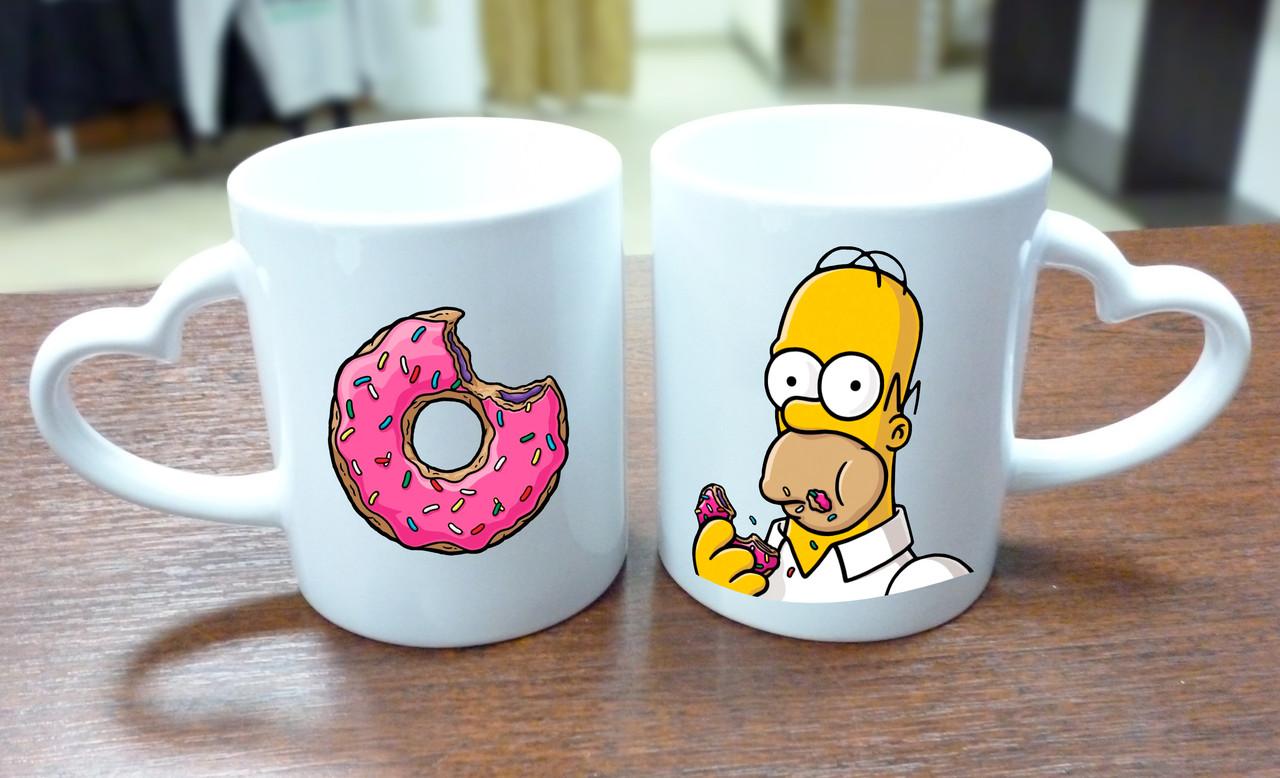 """Парные кружки """"Гомер и пончик"""", ручка сердце"""