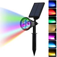 Солнечная Изменение цвета 7 LED Водонепроницаемы Пятно света Outdooors Yard Сад Ландшафтный ландшафт Безопасность Лампа